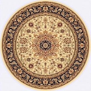 Renaissance Cream/Black Traditional Medallion Area Rug (5'3 x 5'3 Round)