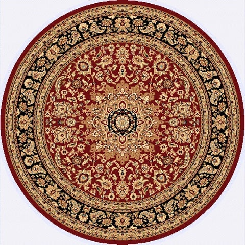 Renaissance Red/Black Traditional Medallion Area Rug - 5'3 x 5'3 Round