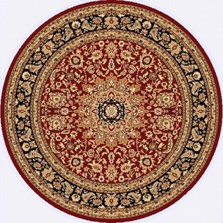 Renaissance Red/Black Traditional Medallion Area Rug (5'3 x 5'3 Round)
