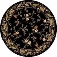 Renaissance Black Floral Border Area Rug - 5'3 x 5'3