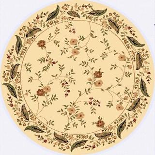 Renaissance Beige Floral Border Area Rug (5'3 x 5'3 Round)