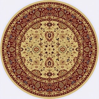 Renaissance Cream/Red Traditional Print Area Rug (5'3 x 5'3 Round)