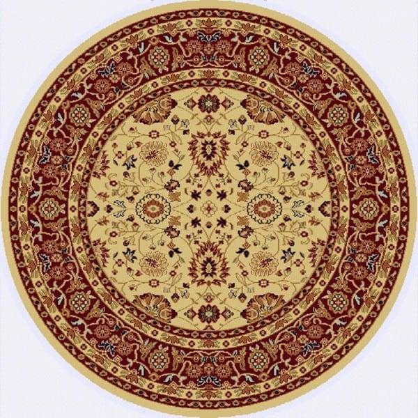 Renaissance Cream/Red Traditional Print Area Rug - 5'3 x 5'3
