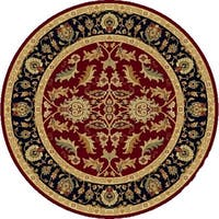 Renaissance Red/Black Traditional Print Area Rug - 5'3 x 5'3
