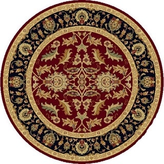 Renaissance Red/Black Traditional Print Area Rug (5'3 x 5'3 Round)