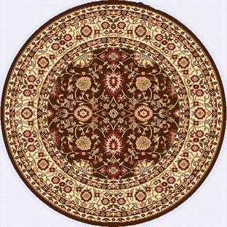 Renaissance Brown/Cream Traditional Print Area Rug (5'3 x 5'3 Round)