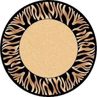Renaissance Tiger Border Area Rug (5'3 x 5'3 Round)
