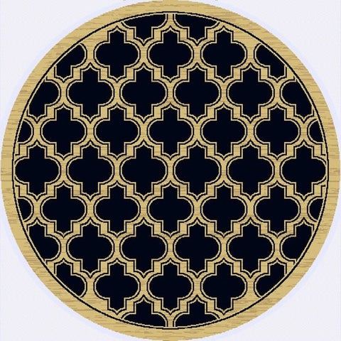 Renaissance Black Lattice Area Rug - 5'3 x 5'3 Round