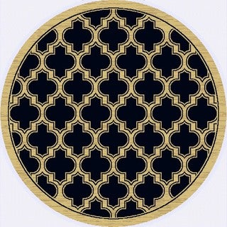 Renaissance Black Lattice Area Rug (5'3 x 5'3 Round)