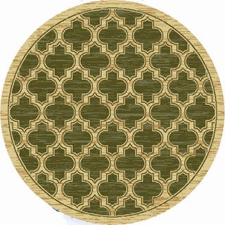 Renaissance Green Lattice Area Rug (5'3 x 5'3 Round)