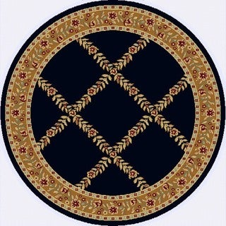 Renaissance Black/Brown Floral Lattice Area Rug (5'3 x 5'3 Round)