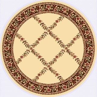 Renaissance Ivory/Brown Floral Lattice Area Rug (5'3 x 5'3 Round)