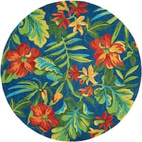 Miami Spiced Orchid/ Blue- Green- Red Indoor/Outdoor Round Rug - 7'10 x 7'10