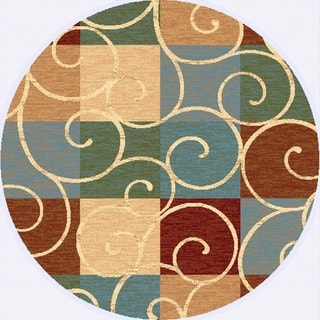 Renaissance Swirled Color Block Area Rug (5'3 x 5'3 Round)