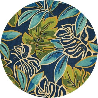 Couristan Covington Areca Palms/ Azure-Forest Green Rug (7'10 Round)