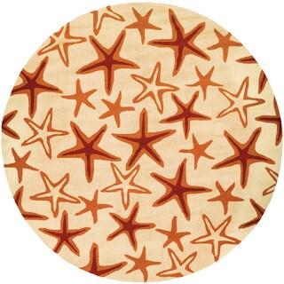 Couristan Beachfront Starfish/ Ivory-Coral Rug (7'10 Round)