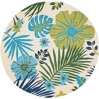 Couristan Covington Summer Laelia Ivory-Fern Round Indoor/Outdoor Rug - 7'10 x 7'10