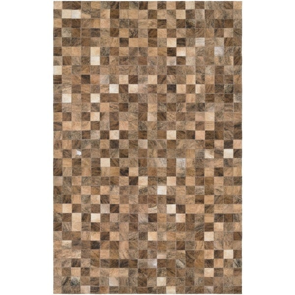 Couristan Chalet Pixels Brown Cowhide Leather Area Rug 8 X27