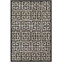 Couristan Chalet Meander Black-Ivory Cowhide Leather Area Rug - 8' x 11'