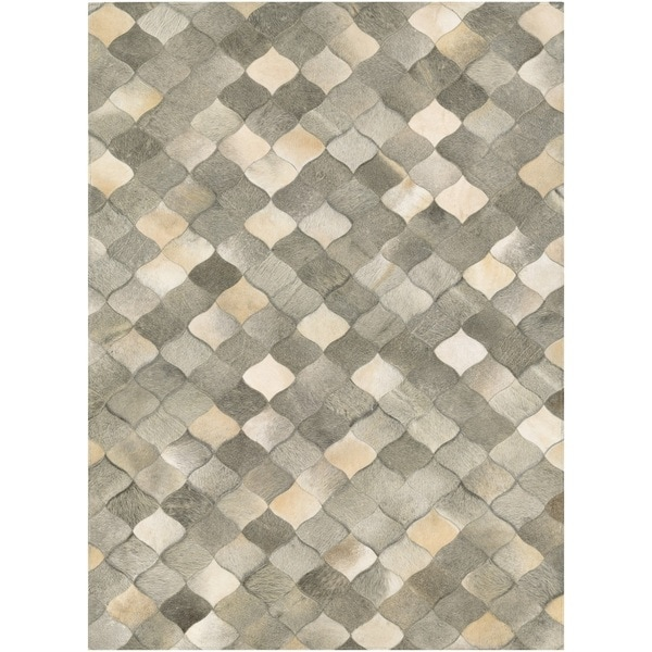 Couristan Chalet Diamonds Ivory-Grey Cowhide Leather Area Rug - 8' x 11'