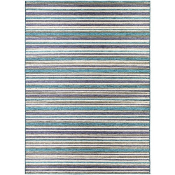 Vector Mendocino Blue-Teal Indoor/Outdoor Area Rug - 7'10 x 10'9