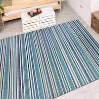 Vector Mendocino Blue-Teal Indoor/Outdoor Area Rug - 7'10 x 10'9