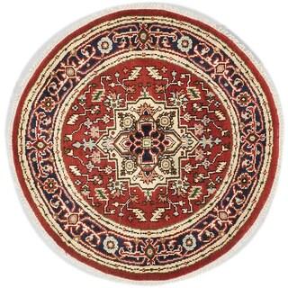 Ecarpetgallery Serapi Heritage Dark Orange-red Wool Medallion Rug Round (4'1 x 4'1)