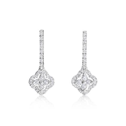 SummerRose 14k White Gold 3/4ct TDW Diamond Flower Drop Earrings