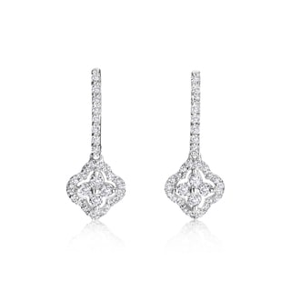 SummerRose 14k White Gold 3/4ct TDW Diamond Flower Drop Earrings (H-I, SI1-SI2)
