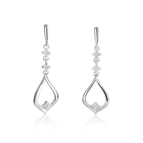 SummerRose 14k White Gold 1/5ct TDW Diamond Dangling Earrings
