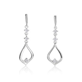 SummerRose 14k White Gold 1/5ct TDW Diamond Fashion Dangling Earrings