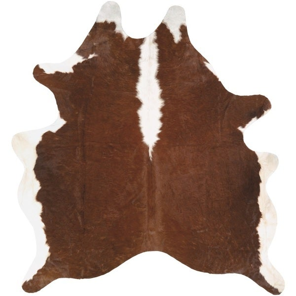 Couristan Chalet Redingote Ivory Brown Cowhide Leather Area Rug 7 X27