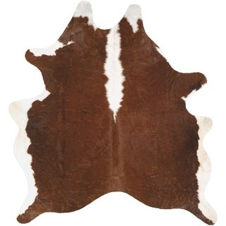 Couristan Chalet Redingote Ivory-Brown Cowhide Leather Area Rug (7' x 7'4)