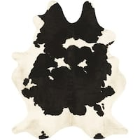 Couristan Chalet Redingote Ivory-Black Cowhide Leather Area Rug - 7' x 7'4