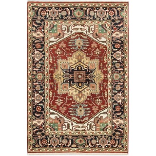 Ecarpetgallery Serapi Heritage Dark Orange-red Wool Medallion Corners Rug (6'2 x 9'3)