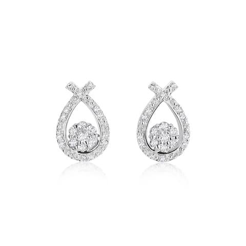 SummerRose 14k White Gold 1/3ct TDW Diamond Teardrop Stud Earrings