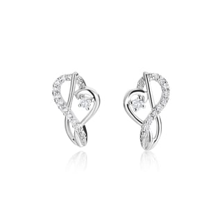 SummerRose 14k White Gold 1/5ct TDW Diamond Music Note Earrings