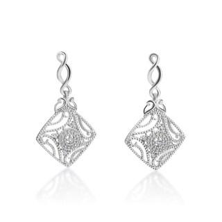 SummerRose 14k White Gold 1/7ct TDW Diamond Dangling Earrings (H-I, SI1-SI2)