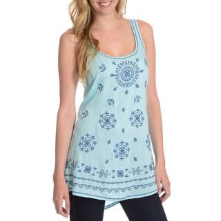 La Cera Women's Medallion Embroidered Tank Top