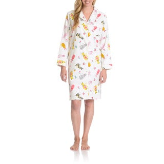 La Cera Women's Multicolor Cat Print Button Front Night Gown