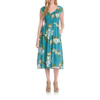 La Cera Women's Tropical Floral Print Dress
