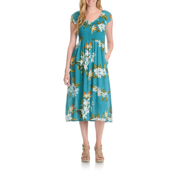 a2482cb4e251d Shop La Cera Women's Tropical Floral Print Dress - Free Shipping ...