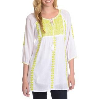 La Cera Women's 3/4 Sleeve Embroidered Tunic