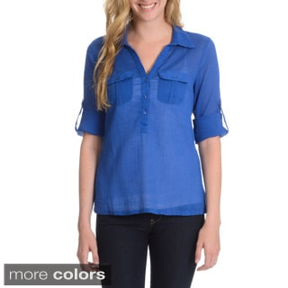 La Cera Women's Crinkle 3-Button Collared Shirt