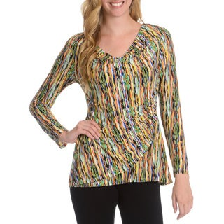 La Cera Women's Abstract Wavy Print Faux Wrap Top