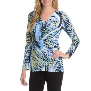 La Cera Women's Animal Print Faux Wrap Top