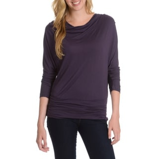 La Cera Women's Cowl Neck Dolman Sleeve Top