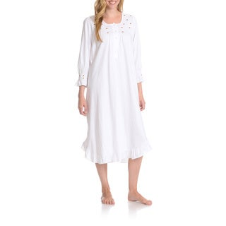 La Cera Women's Rosette Detail Night Gown