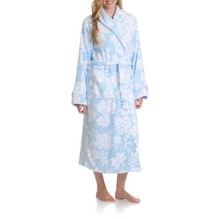 La Cera Women's Full Length Floral Print Plush Bath Robe