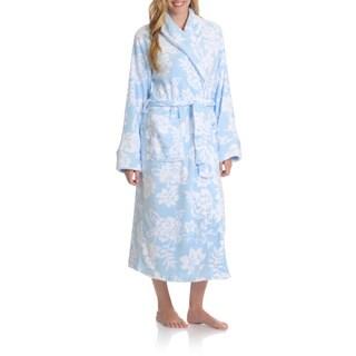 La Cera Women's Full Length Floral Print Plush Bath Robe
